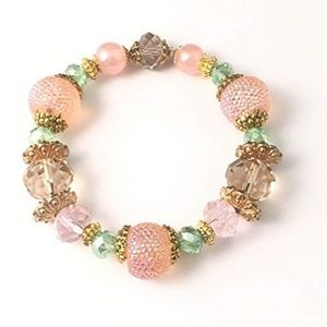 Pink/Peach/Green~Multi~Gold~Bracelet